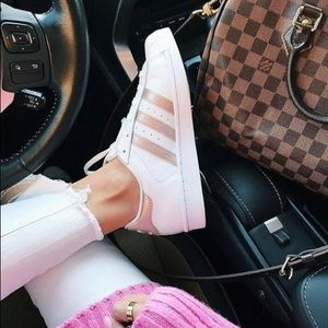 Adidas white / rose gold sneakers